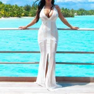 New fashion nova long maxi sexy dress white small